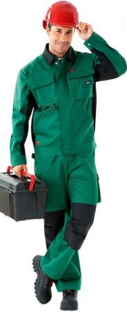 Куртка рабочая зеленая хлопок стрейч. Уменьшенная фотография.