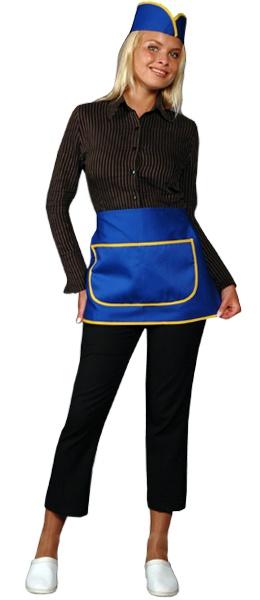 Фартук официанта продавца укороченный синий
