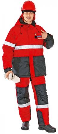 Костюм рабочий зимний НОРД красный. Уменьшенная фотография.