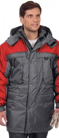 Мужская утепленная куртка ИТР ДРАЙВ серая с красным. Уменьшенная фотография.