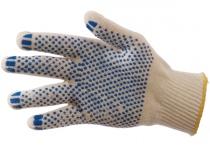 Перчатки трикотажные ПВХ Точка класс 10, 4-ти нитка. Уменьшенная фотография.