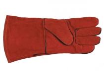 Краги спилковые пятипалые красные с подкладкой. Уменьшенная фотография.