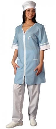 Халат медицинский женский с коротким рукавом. Уменьшенная фотография.
