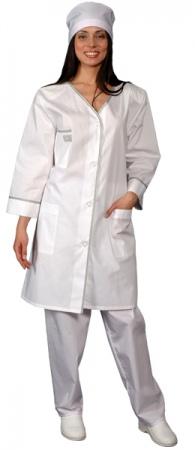 Классический женский халат с рукавом 7/8 VIP белый. Уменьшенная фотография.