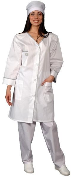 Классический женский халат с рукавом 7/8 VIP белый
