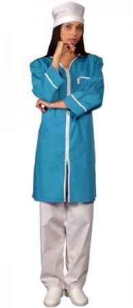 Халат медицинский женский на молнии голубой. Уменьшенная фотография.