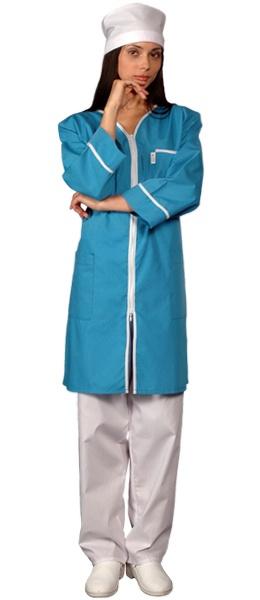 Халат медицинский женский на молнии голубой