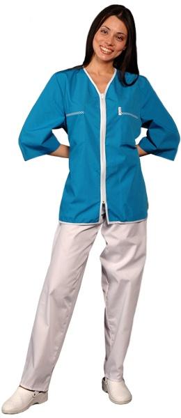 Медицинская куртка синяя с застежкой молния