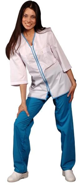 Медицинская куртка белая с застежкой молния