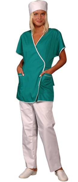 Медицинская куртка зеленая на запах