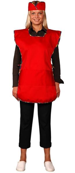 Фартук официанта продавца в комплекте красный