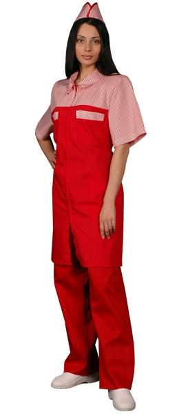 Халат официанта продавца красный мод.088