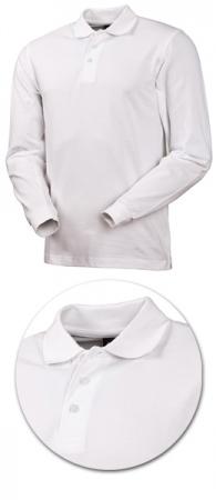 Рубашка поло с длинным рукавом 1722 белая. Уменьшенная фотография.