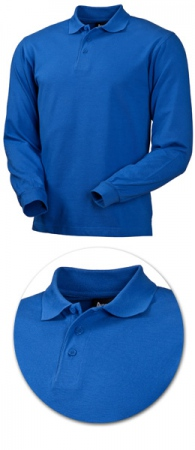 Рубашка поло с длинным рукавом 1722 синяя. Уменьшенная фотография.