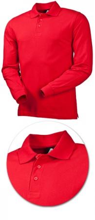 Рубашка поло с длинным рукавом 1722 красная. Уменьшенная фотография.