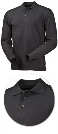 Рубашка поло с длинным рукавом 1722 черная. Уменьшенная фотография.