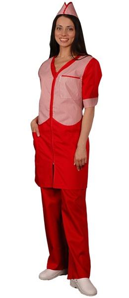 Халат официанта продавца красный мод.090