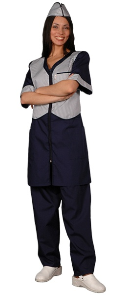 Халат официанта продавца темно синий мод.090