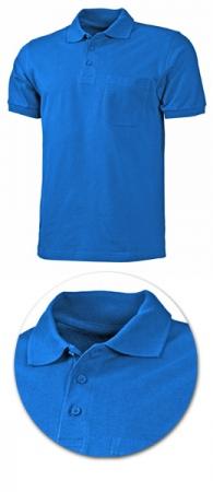 Рубашка поло с кармашком модель 1721 синяя. Уменьшенная фотография.
