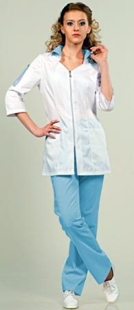 Медицинский костюм 8-574 Сатори белый / голубой. Уменьшенная фотография.