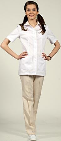 Женский костюм белый с кремовым модель 8-887 . Уменьшенная фотография.