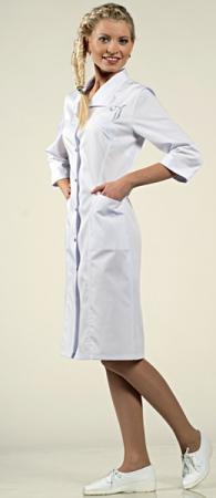 Белый женский халат 3/4 на клепках Камея 1-672 Сатори. Уменьшенная фотография.