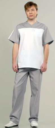 Комплект медицинской одежды 543 светло серый. Уменьшенная фотография.