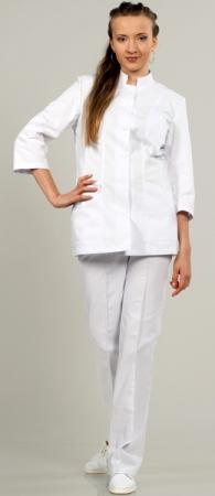 Модель 883 белый стильный костюм на пуговицах. Уменьшенная фотография.