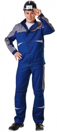 Куртка рабочая СПЕЦ летняя цвет синий с серым. Уменьшенная фотография.