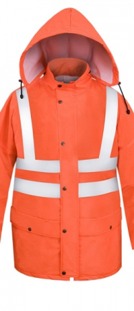 Легкая непромокаемая куртка PROS-085 сигнальная. Уменьшенная фотография.